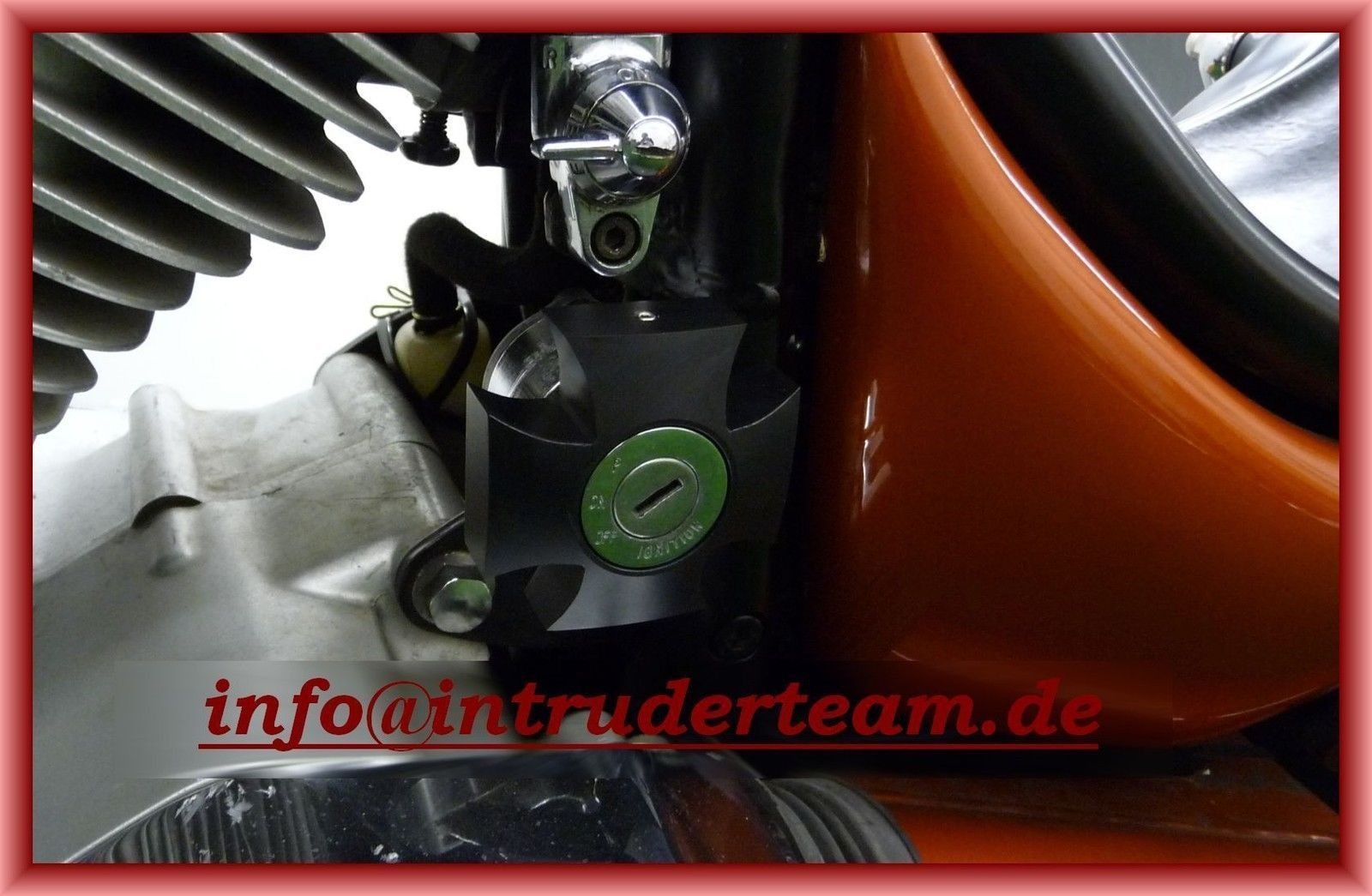 Zündschloß Abdeckung Alu black ignition lock cover eis. Kreuz Intruder VS600 800