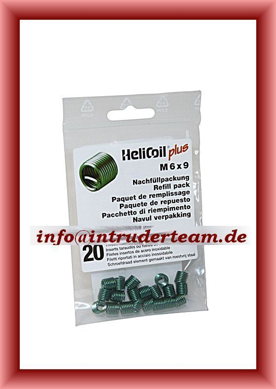 HeliCoil M6 x 1,0 x 9 mm refill pack with 20 thread inserts.