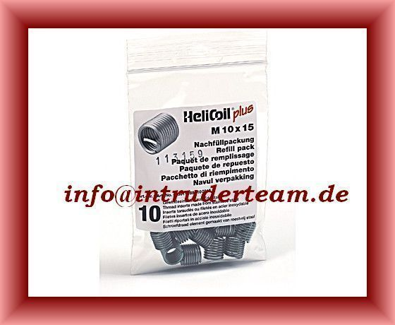 HeliCoil M10 x 1,0 x 17,5 mm refill pack with 10 thread inserts.