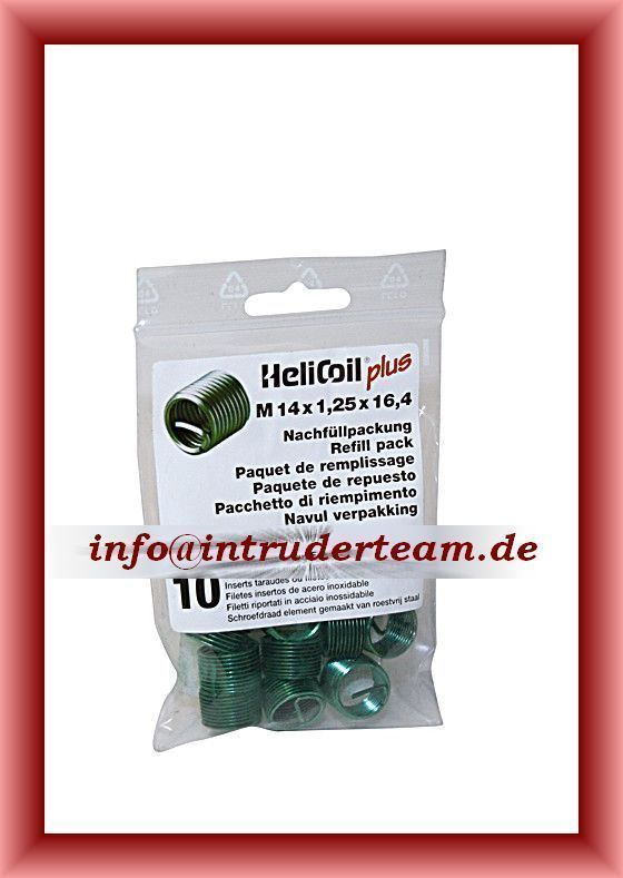 HeliCoil plus  M 14 x 1,25 x 16,4 mm; refill pack with 10 thread inserts